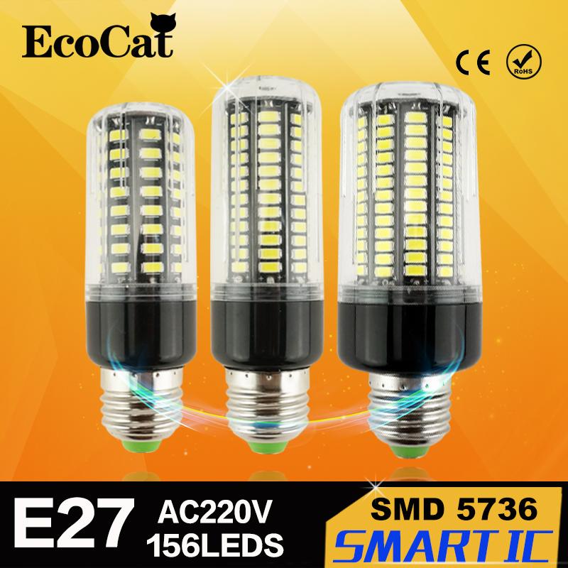 Real No Flicker/Strobe Smart Power IC Design LED Corn Bulb High Lumen 5736 SMD E27 220V long LifeSpan LED lamp Spot light(China (Mainland))