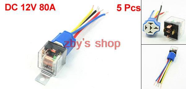 Купить Новый Автосигнализация SPDT Зеленый Индикатор Автомобилей Реле 5 Pin Керамическое Гнездо 80A 12 В DC 10 Шт.