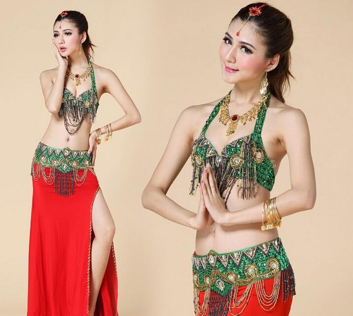Belly Dance Costume 2 pics Set Bra&Skirt 34B/C 36B/C 38B/C 40B/C bling bling bellydance costume/ Bra+Waist Band(China (Mainland))