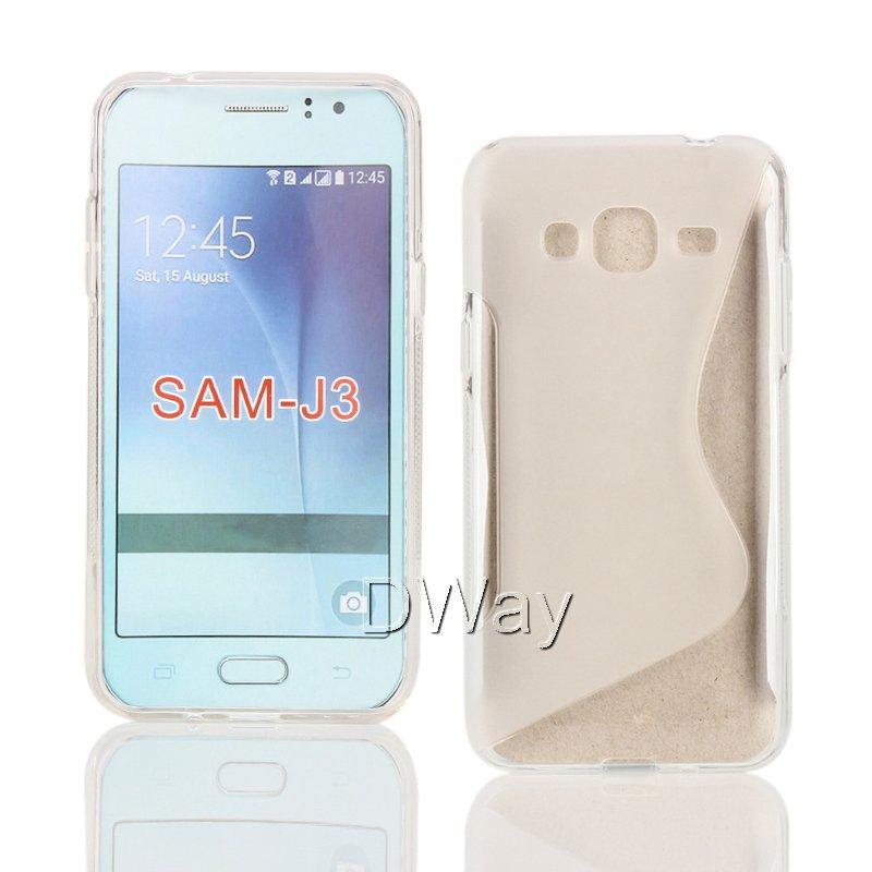 TPU S Line Wave Gel Rubber Soft Back Cover Case For Samsung Galaxy J3 2016 J320 J320F J3109 J3(6) Phone Case 20PCS/LOT(China (Mainland))