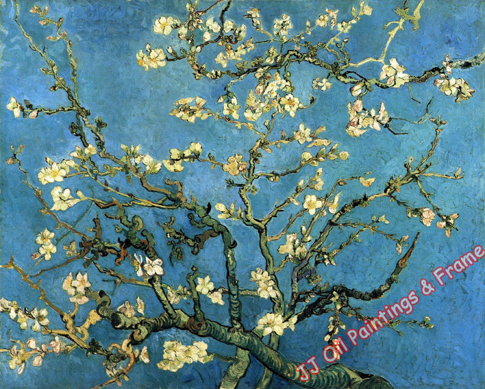 Vincent Vangogh Almond Blossom Flower Oil Painting French Style Painting Art Decoration Oil Painting No Frame No Stretch(China (Mainland))
