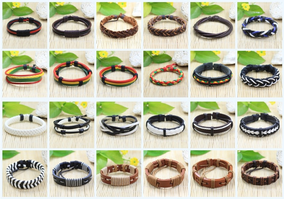 90PCS Wholesale wristband handmade genuine braided Wholesale leather bracelet men and for women bangles charm free shipping<br><br>Aliexpress