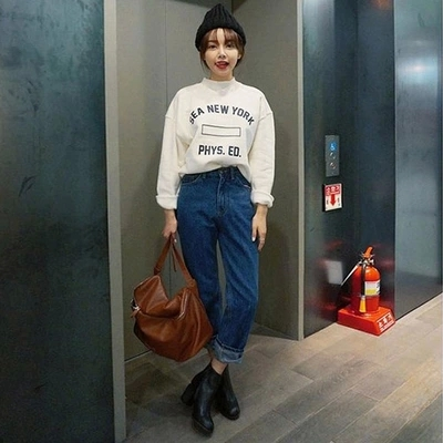 Stylenanda Sweatshirt Female Loose Pullover Long-sleeve O-neck Spring And Autumn Girl Fashion School Wear Thin TopsОдежда и ак�е��уары<br><br><br>Aliexpress