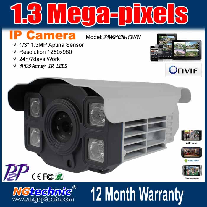 Wholesale! CCTV system HD 1.3 Megapixel 4pcs Array IR LEDS Onvif POE outdoor security Network IP camera(China (Mainland))