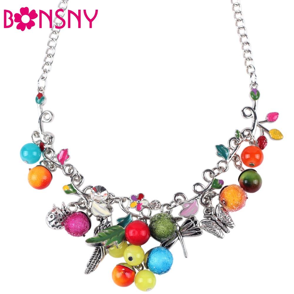 Bonsny Statement Enamel Fruit Bird Butterfly Necklace Flower AlloyLong Chain Collar 2016 New Fashion Brand Jewelry Women