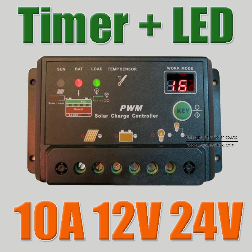 10A 12V 24V Solar Cell panels Battery Charge Controller,10Amps lamp Regulator Timer for LED street lighting or solar home