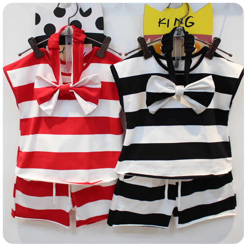 Children's Suit 2016 Summer Wear Pattern Girl Korean Version Of The Cross Stripe T-Shirt Shorts Bow Hair B Three Pieces(China (Mainland))