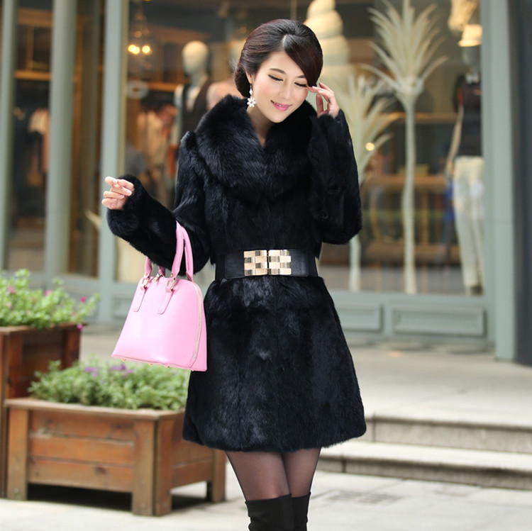 2015 Winter coat warm Women's Fashion Rabbit Fur Coat with Fox Fur Collar Outwear Lady Garment Plus Size S-4XL(China (Mainland))