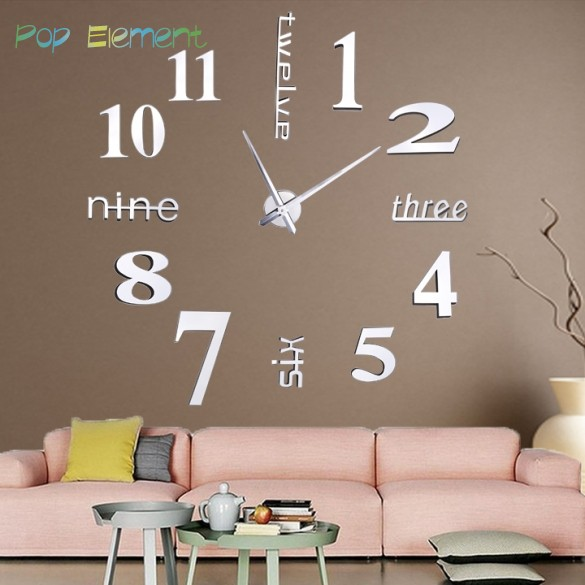 wall clock big mirror Modern design,large size clocks.diy sticker unique Home decoration 31