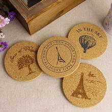 4pcs Cork Wood Drink Coaster Tea Coffee Cup Mat Japan Style Flexible Table Heat Resistant Round Drinks Mats Free Shipping(China (Mainland))
