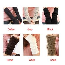 Fantastic  New Cute Women Twist Knitted Fingerless Gloves Arm Warmer Long Winter Mittens(China (Mainland))