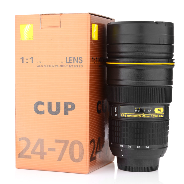 Camera lens mug 350 400ml lens cup stainless steel Nikon camera lens coffee mug