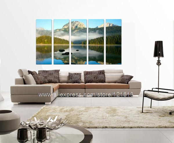 Mountain Lake In Clouds On Huge Quality Canvas Oil Painting Discount Discount Music Wall Decor Wall Decoration(China (Mainland))