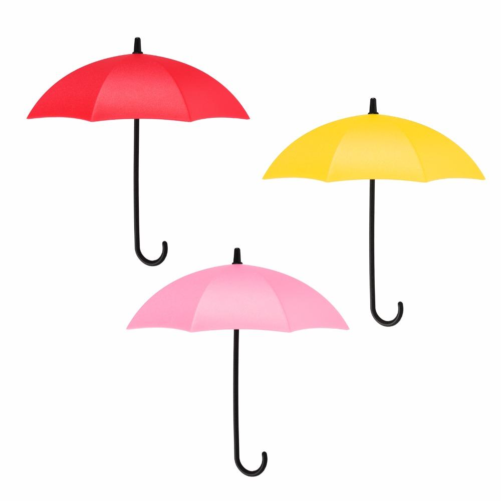 3Pcs/lot Umbrella Shaped Storage Hook Creative Free Nail Key Hanger Rack Holder Wall Kitchen Bathroom Accessories Home Decor(China (Mainland))