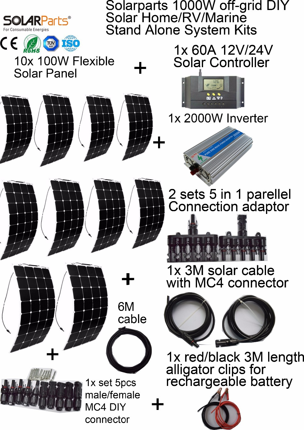 Solarparts 1000W off-grid Solar System KITS flexible solar