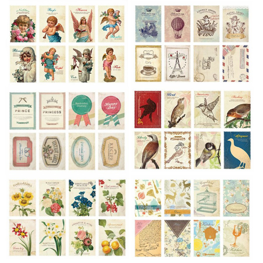 Full 28 retro shipping stamp sticker style paper plant in the small stickers for 16 pcs(China (Mainland))