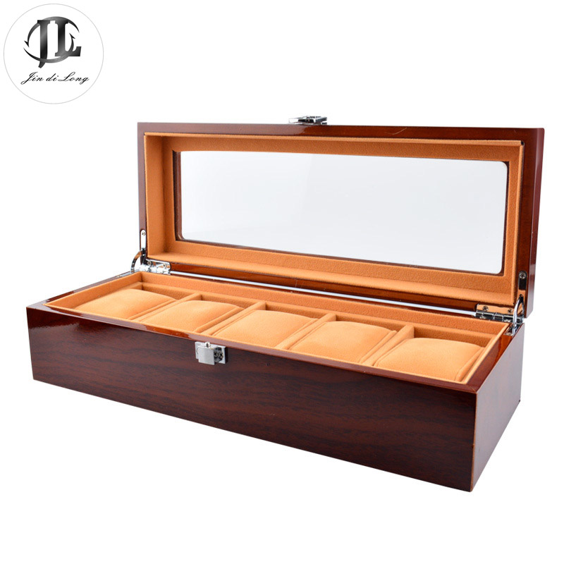 Hot Sale High Quality Solid Wood Rosewood Watch Display Case 5 Grids Watches Box Packing Gift