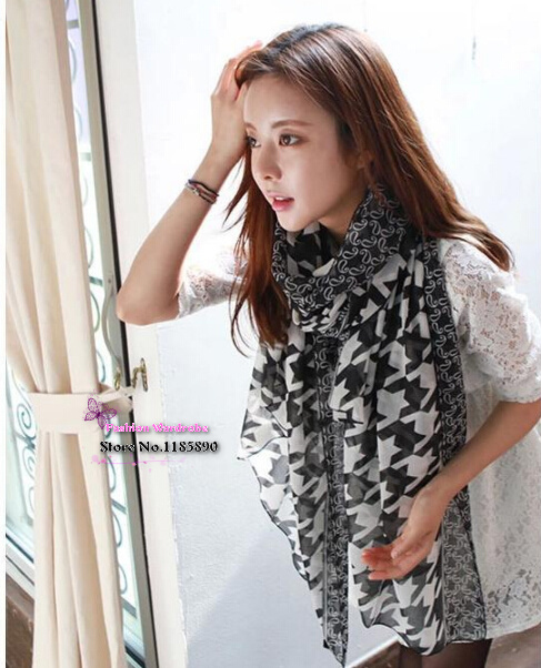 170*80cm 2015 Korean women winter scarf houndstooth printed voile scarves lady fashion apparel & accessaries(China (Mainland))