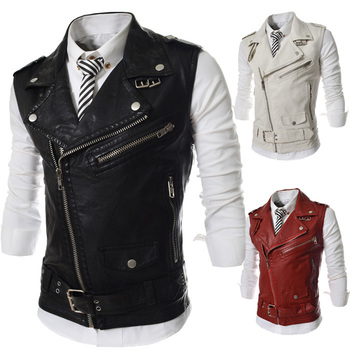 Free Shipping Man Spring 2014 Men's Fashion Sleeveless Leather jackets Vest jackets for men
