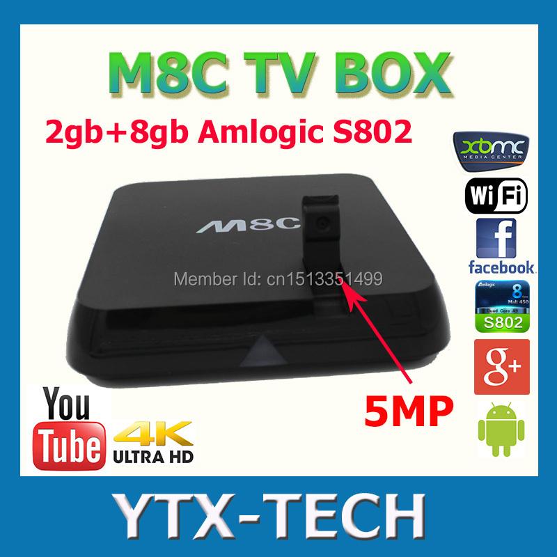 5pcs Camera tv box 5MP android 4.4 quad core 4K smart tv box 2gb 8gb Amlogic S802 m8 tv box media palyer m8c(China (Mainland))