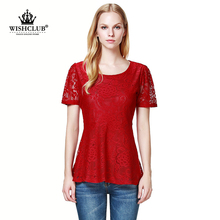 WISHCLUB 2015 new European and American fashion temperament round neck short sleeve red white lace clothes