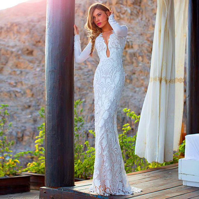 Long sleeve fitted wedding dresses promotion shop for for Beautiful fitted wedding dresses