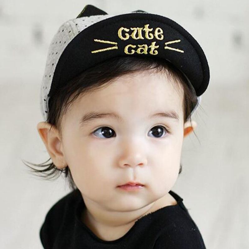 New Baby Boy Hat with Ears Cute Cartoon Cotton Cap Baby Boy Accessories for 0-2 Years Black/Gray(China (Mainland))