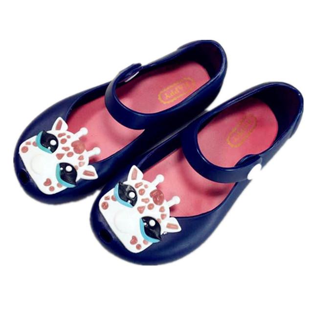 2016 дети сандалии мини мелиссы девушки летняя обувь дети принцесса обувь мультфильм мягкое дно рыбий рот сандалии 13 - 15.5 см