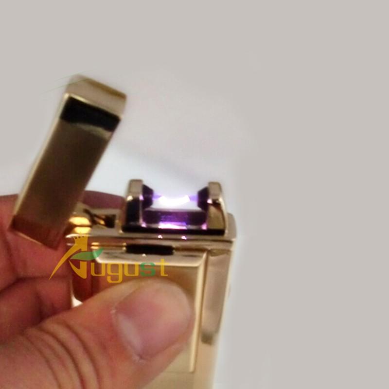 ถูก 5ชิ้น/ล็อตเสือwindproofเบาโลหะบางเฉียบชีพจรค่าใช้จ่ายusbบุหรี่อิเล็กทรอนิกส์เบาเบาสามสีสามารถเลือก