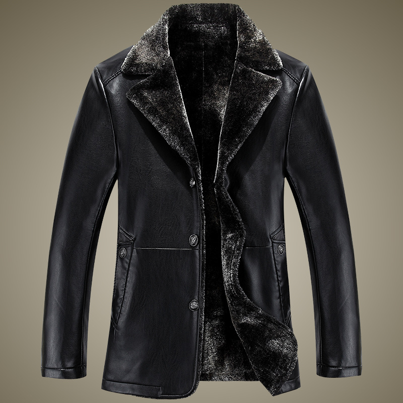 New autumn and winter sheepskin leather coat men lapel fur leather overcoat high quality blazer collar Quality jacket
