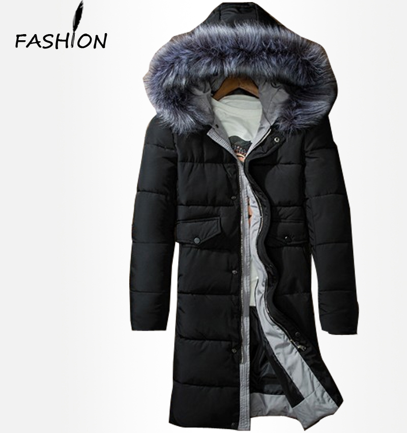 2016 New Clothing Jackets Business Long Thick Winter Coat Men Solid Parka Fashion Overcoat Outerwear(China (Mainland))