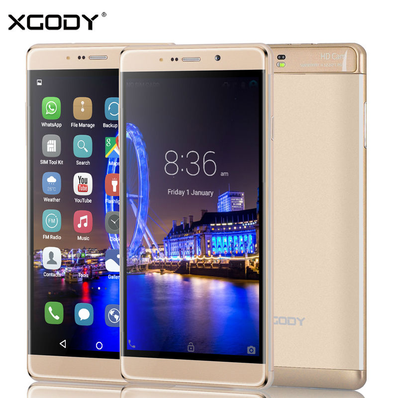 XGODY Y13 6 inches Smartphone Quad Core 1GB RAM 16GB ROM Dual SIM 13.0MP GPS Mobile Cell Phone with Phone Case(China (Mainland))