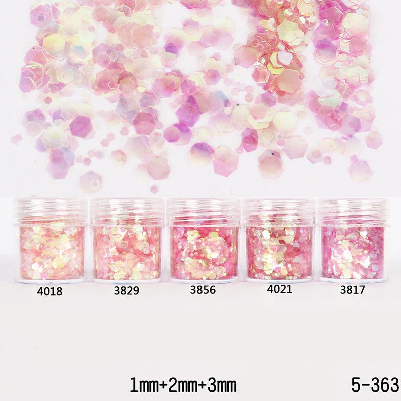 1Box 10ml Nail Glitter Powder Sheets Tips Pink Red 1mm&2mm&3mm Mixed Nail Powder Nail Decoration 5 Colors(China (Mainland))