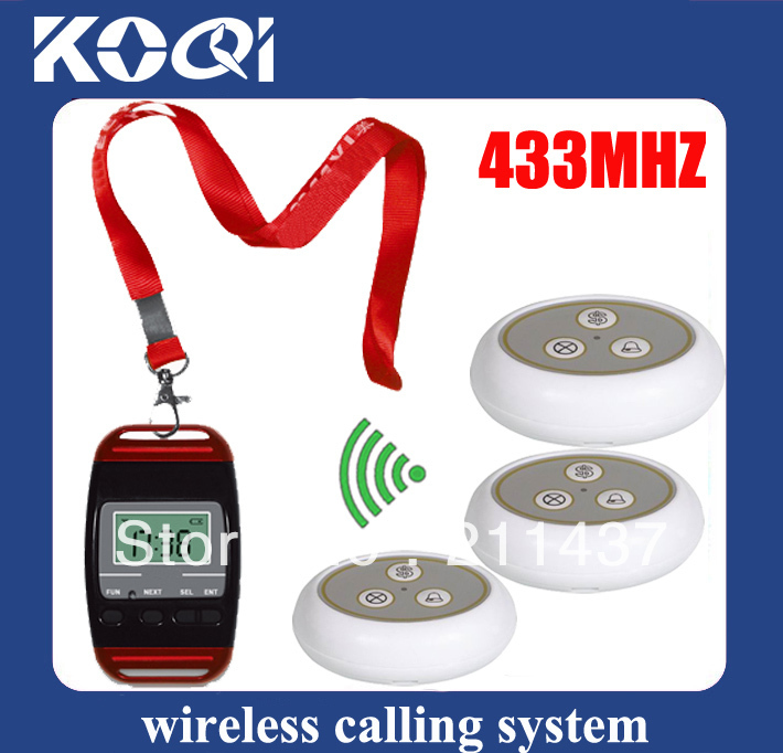433.92mhz Waiter buzzer call system attractive and functional sing call W 3 watch pager and 30 Call bells coffee shops bells(China (Mainland))