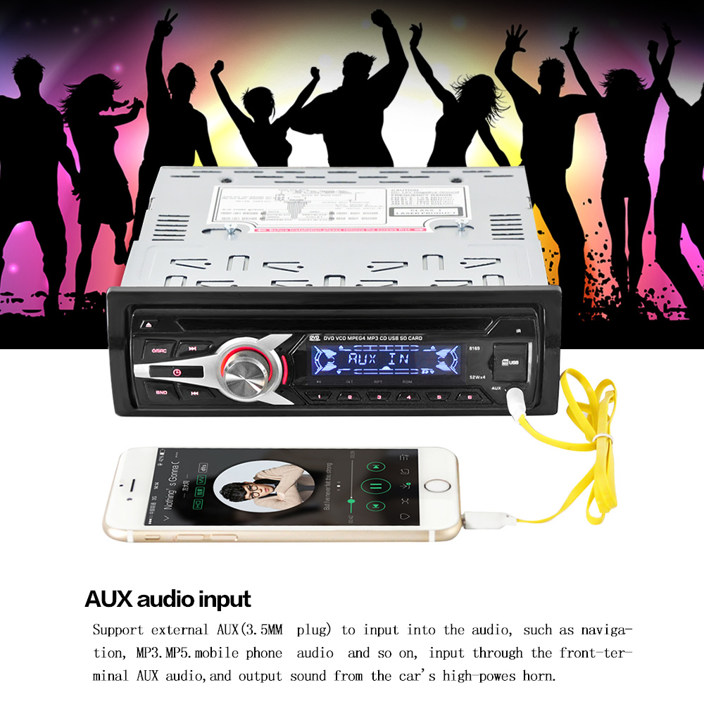 KKmoon Universal Car Stereo Radio Audio Player CD DVD MP3 Player with FM Aux Input SD/USB Port(China (Mainland))