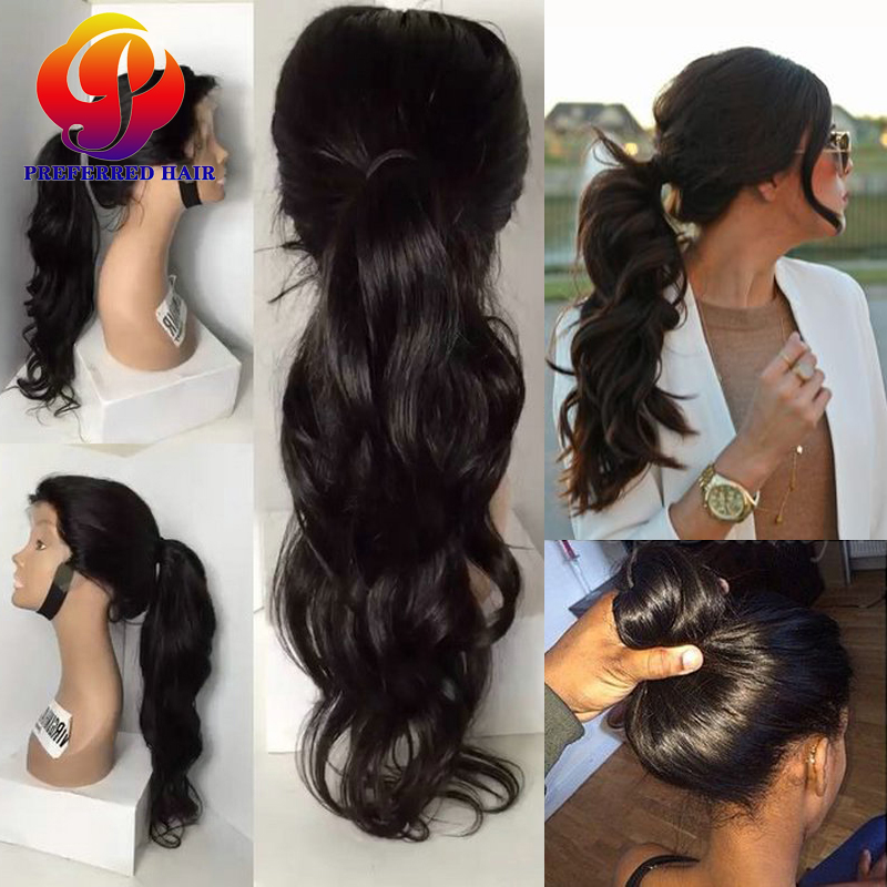 Lace Front Ponytail Wigs Lace Frontal Wig With Baby Hairs Natural Cheap Hair Wigs Remy Human Hair Full Lace Wig For Black Women(China (Mainland))