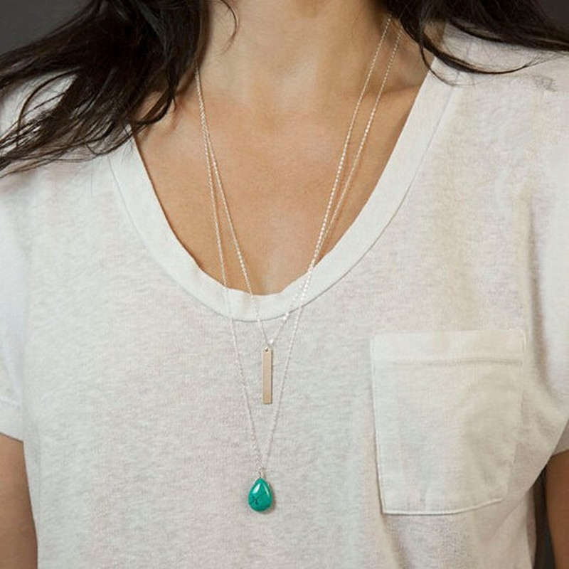 N727-Double-Layer-Women-Long-Chain-Necklace-Turquoise-Beads-Drop-Fashion-Summer-Beach-Jewelry-Collares-Bijoux