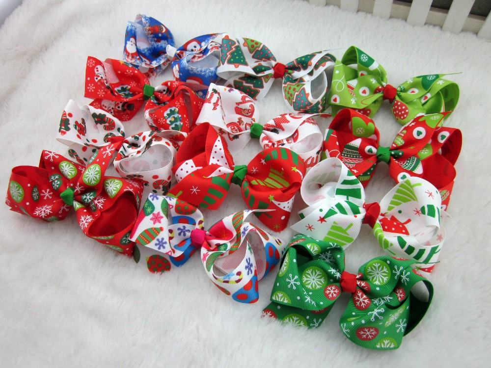 4inch Christmas Hair Ribbon Bows for Christmas Party Decoration Boutique Hair Ribbon Bows without Clip Christmas Gift 24pcs/lot(China (Mainland))