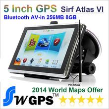 Best Price 5 inch Car gps with bluetooth AV IN 256M RAM 8GBGPS Navigation Sirf Altas VI 800MHZ-CPU FM transmitter Free world map(China (Mainland))
