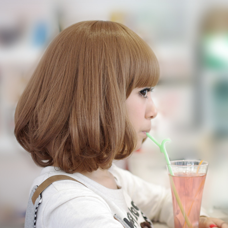 Cute Neat Bangs Medium Blonde Pear Flower Hair Wigs Lolita Sex Products Wigs Synthetic Wig Femme Anime Cheap Cosplay Wigs(China (Mainland))