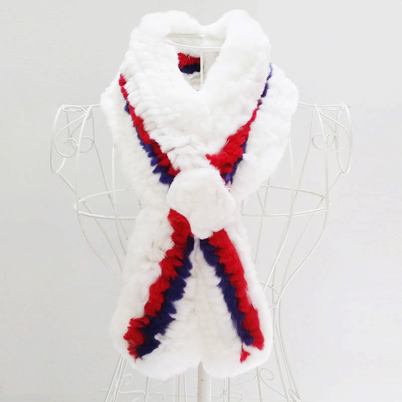 New Women's Fur Scarf White Furs Knitted with 1 line red 1 line blue Rex rabbit fur Scarves 100cmx14cm retail wholesales LQ07005(China (Mainland))