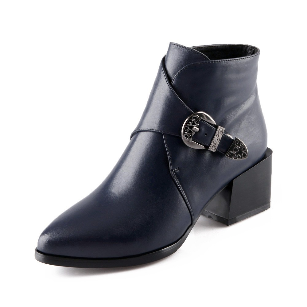 Autumn Women Thick Heel Ankle Boots Ladies Med Heels Boot Fashion