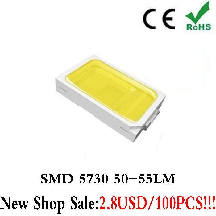 TomDa-2015 Rushed Promotion Surface Mount Ir Led 100pcs White SMD SMT 5730 0.5W Ultra Birght Led Diode Chip Free Shipping(China (Mainland))