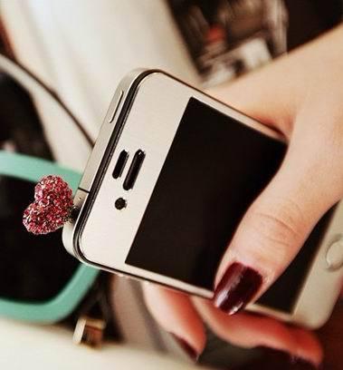 Fashion Cell Dust Plug Love Full Diamond Peach Heart Phone Dust Plug YP008