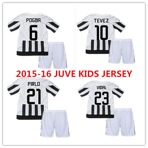 15 16 kids PIRLO TEVEZ VIDAL home away soccer jersey kits shirt 2016 Juve POGBA MARCHISIO LLORENTE children football uniform(China (Mainland))
