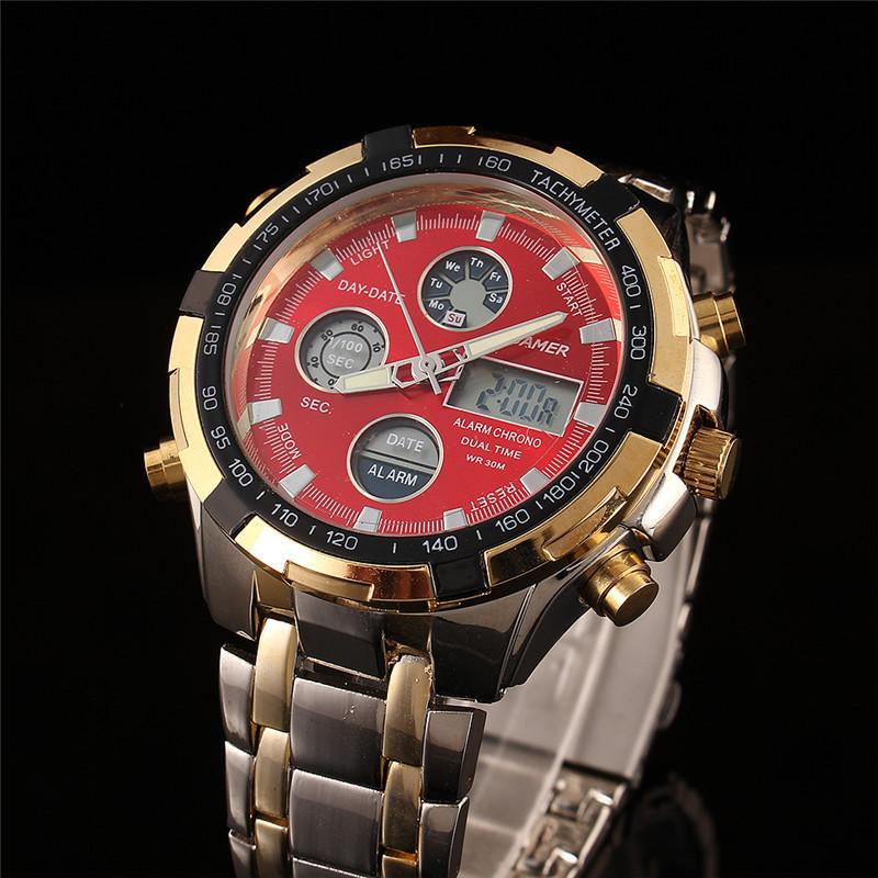 2015 Fashion Digital Watches Men Led Full Steel Gold Male Clock Men Military Wristwatch Quartz Sports