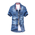 Fashion Men s Dress Denim Short Sleeve Shirt Men Slim Patchwork Wash Casual Jeans Shirt Cowboy