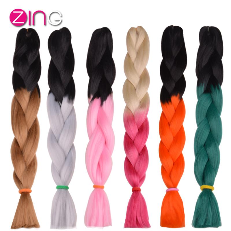1Pc Only Two Tone Ombre Kanekalon Braiding Hair 24 Inch 100g/pc Synthetic Braiding Hair Extension De Cheveux Aplique De Cabelo(China (Mainland))