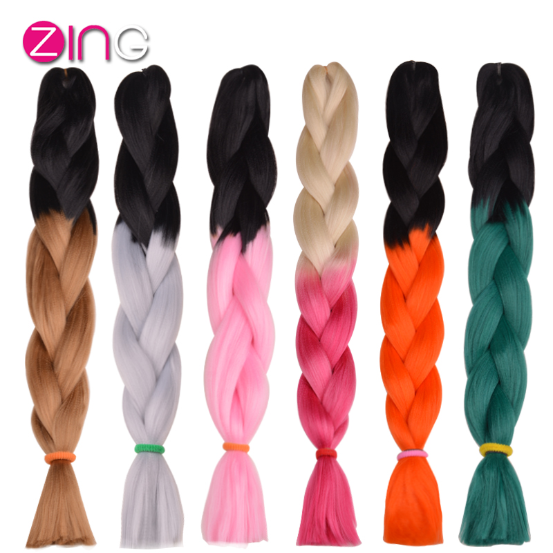 1Pc Only Two Tone Ombre Kanekalon Braiding Hair 24 Inch 100g/pc Synthetic Braiding Hair Extension De Cheveux Aplique De Cabelo(China (Mainland))