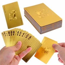 Durable Waterproof Plastic Playing Cards Gold Foil Poker Golden Poker Cards 24K Gold-Foil Plated Playing Cards Poker Table Games(China (Mainland))